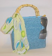 Blue Beach Straw Handbag with wood handles