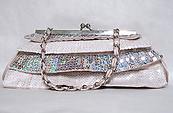Beige Sequin Clutch Handbag