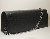 Black Leather Like Dress Handbag