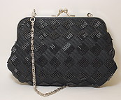 Black Beaded Clutch Handbag