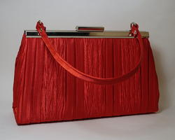 Red Pleated Dress Clutch Handbag